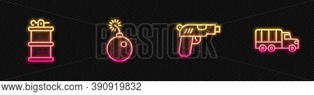 Set Line Pistol Or Gun, Hand Smoke Grenade, Bomb Ready Explode And Military Truck. Glowing Neon Icon