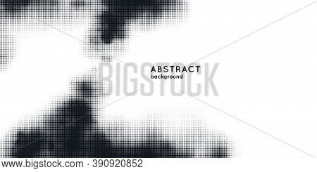 Monochrome Printing Raster, Abstract Vector Halftone Background. Black And White Texture Of Dots.