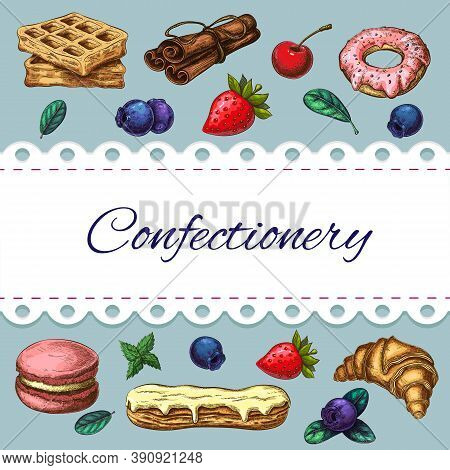 Bakery Goods, Sweet Desserts, Pastries, Berries Cute Vector Illustration. Homemade Pastries Color Sk