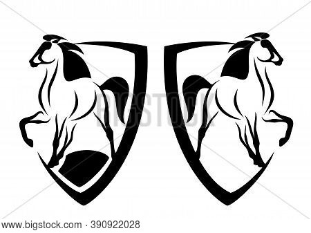 Beautiful Mustang Horse And Heraldic Shield - Black And White Vector Coat Of Arms Design