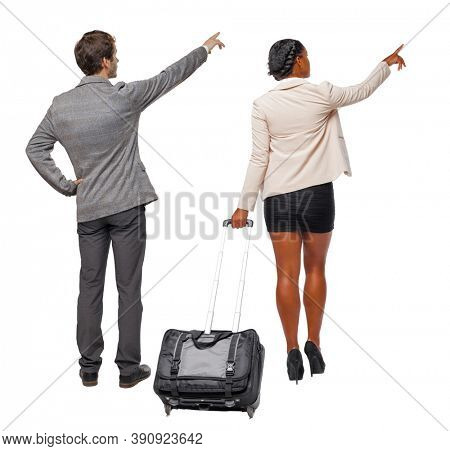 Back view of business women and business men in suit. Business team. traveling with suitcas. Back view. Rear view people collection. backside view of person. Isolated over white background.