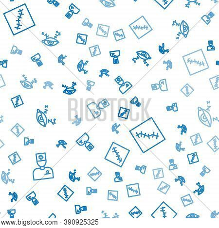 Set Line Male Doctor, Scar With Suture And Insomnia On Seamless Pattern. Vector