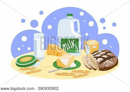 Freshly Baked Bread And Dairy Products. Natural Organic Nutritious Food. Homemade Bread, Milk, Chees