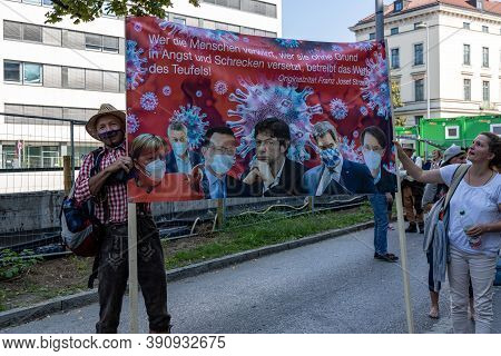 Demonstration In Odeansplatz, Munich, Germany On The 12.09.2020, Protest Against Corona Regulations