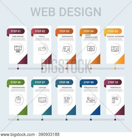 Infographic Web Design Template. Icons In Different Colors. Include Web Design, Tools, Responsive, V
