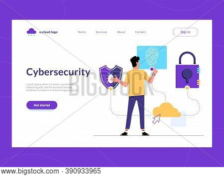 Cybersecurity Landing Page First Screen. Man Looking For Malware Protection, User Verification And I