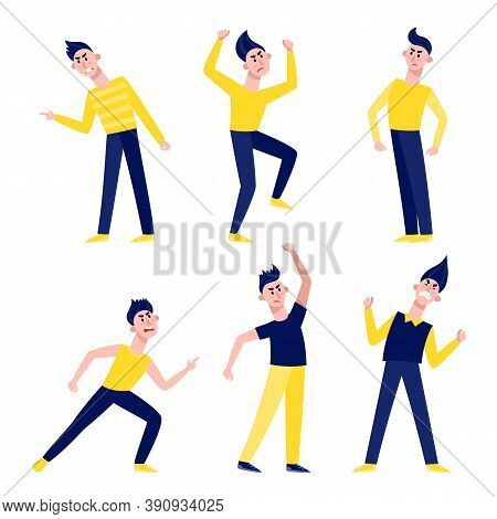 Angry Man Standing Isolated On White. Vector Set Of Young Male Characters In Blue And Yellow Clothes