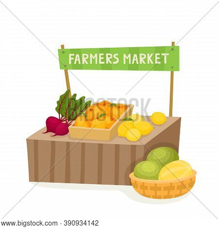 Vegetable And Fruit Local Farmer Market In Cartoon Style Isolated On White. Vector Illustration Of F