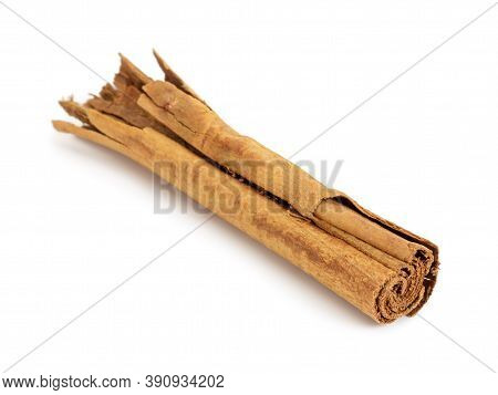 One Stick True Cinnamon Isolated On White Background. Not Cassia.