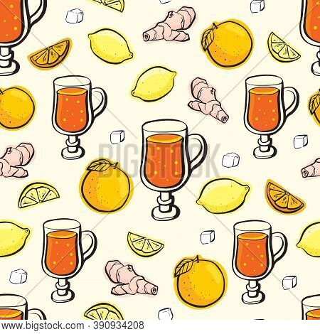 Ginger Roots With Citrus And Sugar Seamless On Beige Background. Vector Pattern Witn Hand Draw Ingre