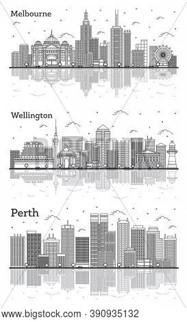 Outline Wellington New Zealand, Perth and Melbourne Australia City Skylines Set with Modern and Historic Buildings with Reflections Isolated on White. Cityscapes with Landmarks.
