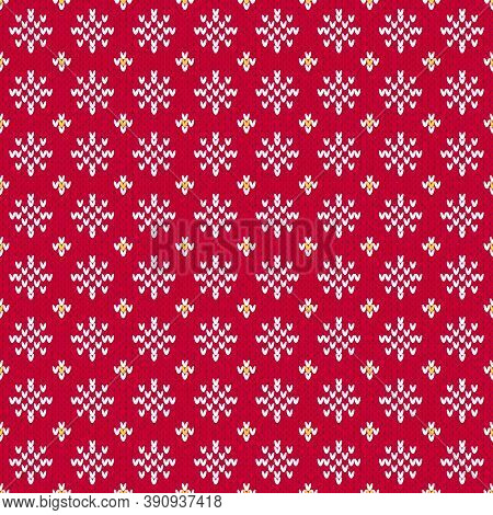 Red Christmas sweater snowflake seamless pattern. Knitted winter pattern with little white snowflakes on a red background. Classic holiday red and white motifs.