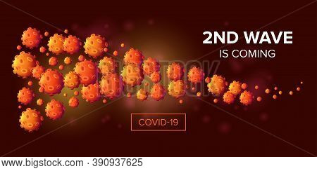 Second Wave Is Coming - Covid-19 Attack Or Infection Spread Horizontal Banner Design Concept. 3d Rea