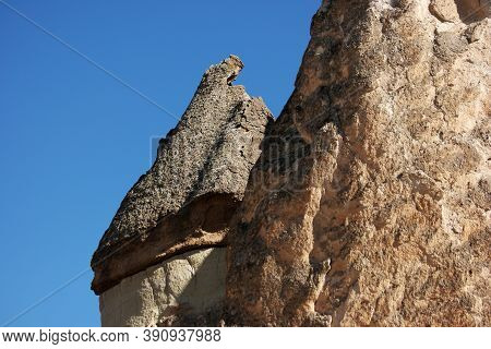 Close Up Of Stone Formations In Cappadocia, Turkey. Volcanic Stone Formations Background.
