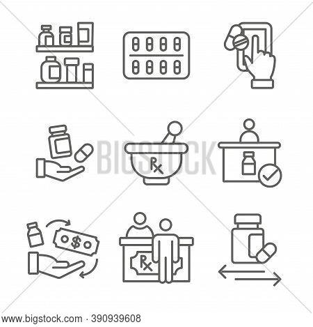 Pharmaceuticals, Medication Icon Set With Mortar And Pestle, Pharmacy, Otc