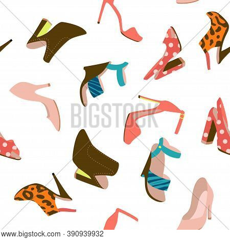 High Heels Shoes Seamless Pattern. Vector Surface Fashion Design. Pupmps, Clogs, Wedge Heeled Shoes.