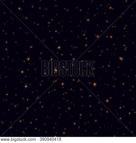Night Sky With Shining Stars Seamless Pattern. Fireflies Flying In The Night, Yellow Sparkles On A D