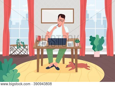 Writer At Laptop Flat Color Vector Illustration. Freelancer In Home Office. Editor Work Process On C