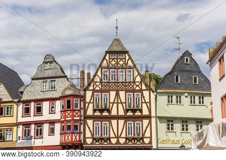 Limburg An Der Lahn, Germany - August 02, 2019: Colorful Historic Houses In Limburg An Der Lahn, Ger