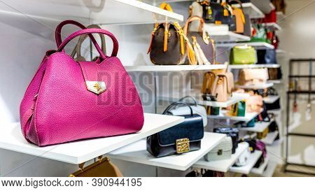Colorful Handbags In A Luxury Fashion Store