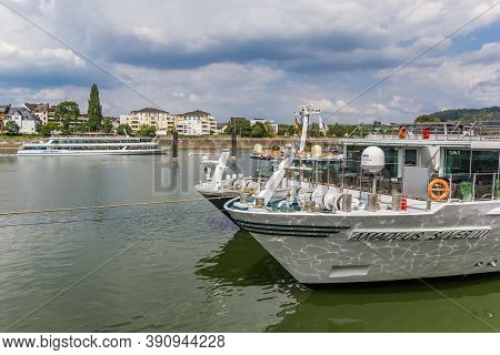 Koblenz, Germany - August 03, 2019: Bow Of A Cruise Ship At The River Mosel In Koblenz, Germany