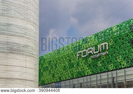 Koblenz, Germany - August 03, 2019: Name Of The Forum Mittelrhein Mall On A Green Facade In Koblenz,
