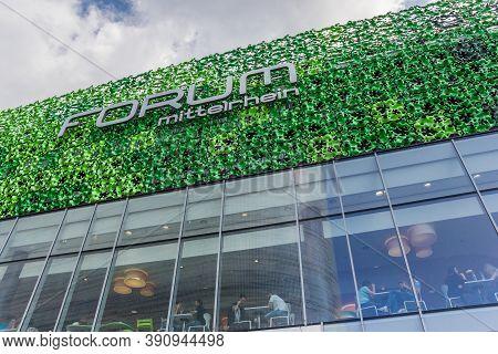 Koblenz, Germany - August 03, 2019: Facade Of The Forum Mittelrhein Shopping Center In Koblenz, Germ