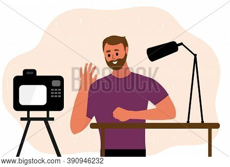 Man Blogger Make Video Tutorial. Male Podcaster Talking To Camera Using Microphone. Vector Illustrat