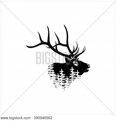 Deer Stag Buck Silhouette With Pine, Evergreen Tree Forest Wildlife Logo Design Vector