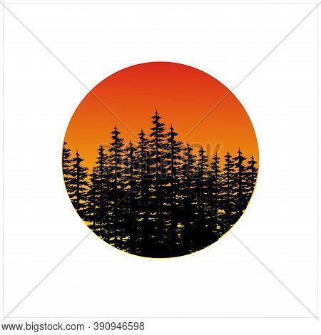Silhouette Pine, Evergreen, Conifer, Fir, Cedar Tree Forest With Orange Sunset Background Logo Desig