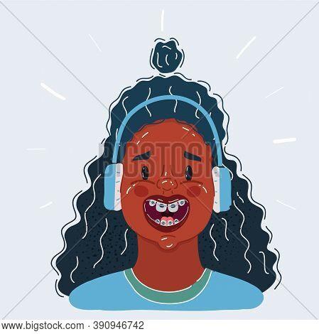 Vector Illustration Of Afro Black Teen Girls Face Smiling In Headphones On White.