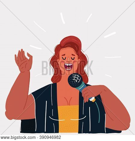 Vector Illustration Of Woman Singing To The Microphone, Isolated On Dark Night Bakground. Stars Arou