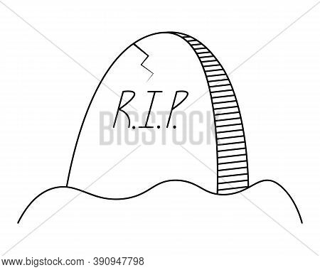 Headstone. Gloomy Sketch. Crack On The Slab. Vector Illustration. Inscription - Rest In Peace. Outli