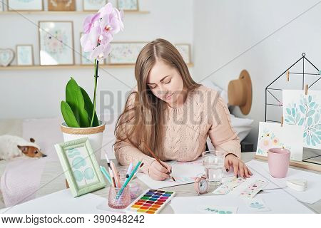Inspiration Art Creation. Painting Hobby. Woman Artist Drawing Beautiful Floral Watercolor Design. I