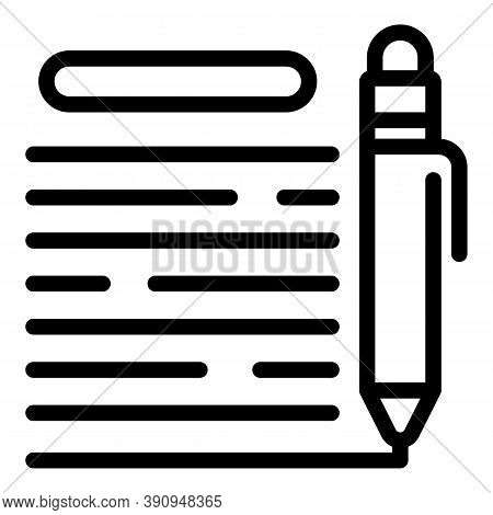 Student Writing Icon. Outline Student Writing Vector Icon For Web Design Isolated On White Backgroun