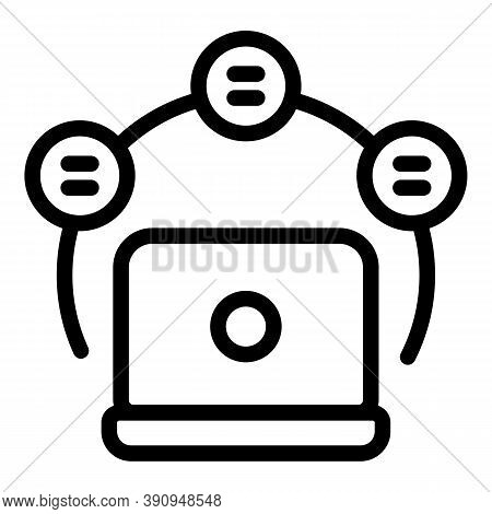Student Learning Laptop Icon. Outline Student Learning Laptop Vector Icon For Web Design Isolated On