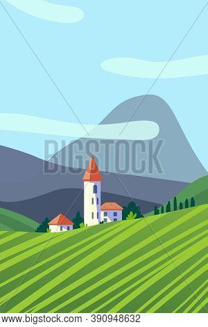 Rural Area Summer Landscape Flat Vector Illustration. Scenic Countryside Grassland View. Green Pastu
