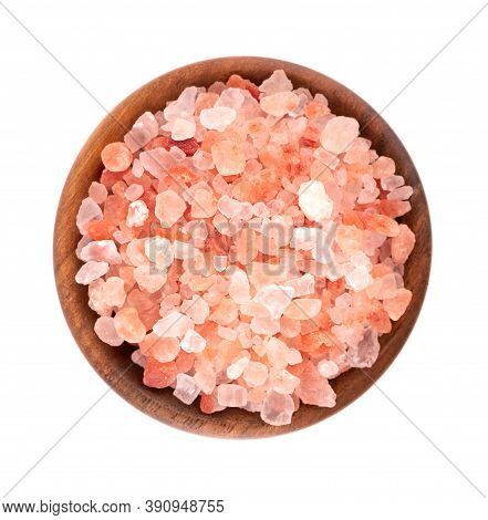 Himalayan Pink Salt In Wooden Bowl, Isolated On White Background. Himalayan Pink Salt In Crystals. T