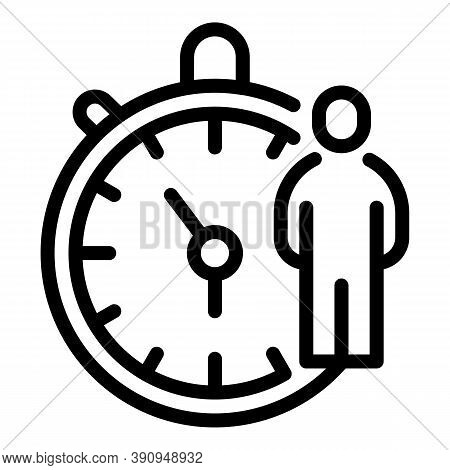Student Job Stopwatch Icon. Outline Student Job Stopwatch Vector Icon For Web Design Isolated On Whi