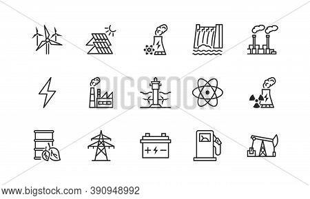 Power Plant Flat Line Icons Set. Energy Generation Station. Vector Illustration Alternative Renewabl