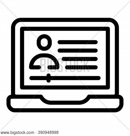 Student Job Laptop Icon. Outline Student Job Laptop Vector Icon For Web Design Isolated On White Bac