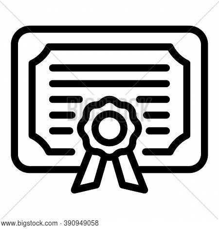Graduated Student Diploma Icon. Outline Graduated Student Diploma Vector Icon For Web Design Isolate