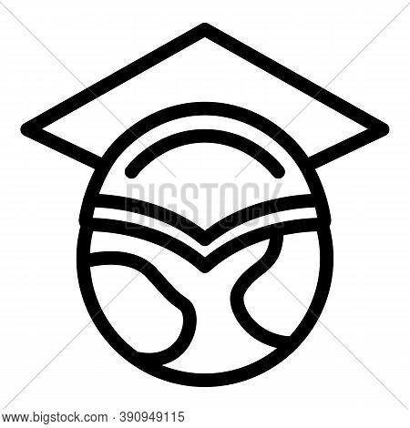 Global Graduated Hat Icon. Outline Global Graduated Hat Vector Icon For Web Design Isolated On White