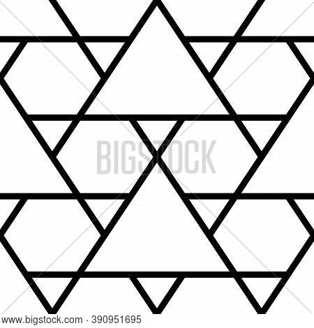 Mosaic. Triangles, Hexagons Ornament. Grid Background. Ethnic Tiles Motif. Geometric Grate Wallpaper
