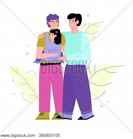 Lgbt Couple Relationships And Parenting Concept With Cartoon Characters Of Adult Homosexual Pair Wit