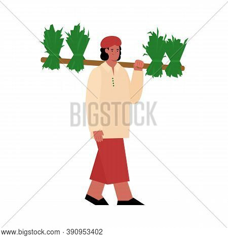Indian Farmer Carrying Croped Plants On Shoulder, Flat Cartoon Vector Illustration Isolated On White
