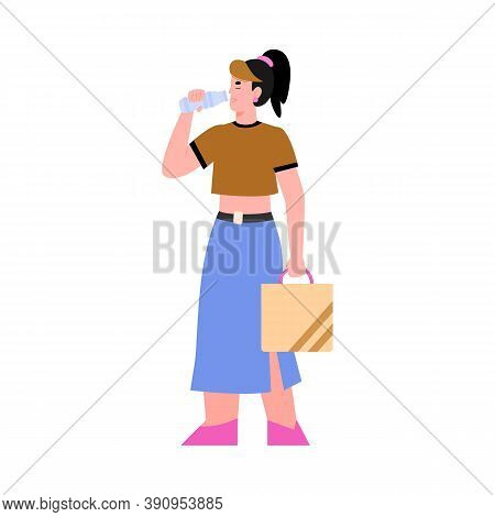 Girl Drinks Clear Potable Water From A Bottle. Young Woman Quenches Thirst Mineral Or Drinking Pure