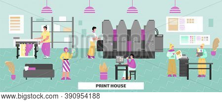 Interior Of Printing House Or Advertising Agency. Technology Of Industrial Print Production With Ink