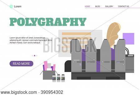 Polygraphy Service Website Banner Template Flat Vector Illustration On White Background. Printing An