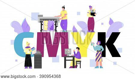 Typography Or Print House Banner Concept With Word Cmyk Behind Cartoon People, Flat Vector Illustrat